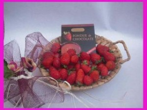 fresas naturales y chocolate para fondue